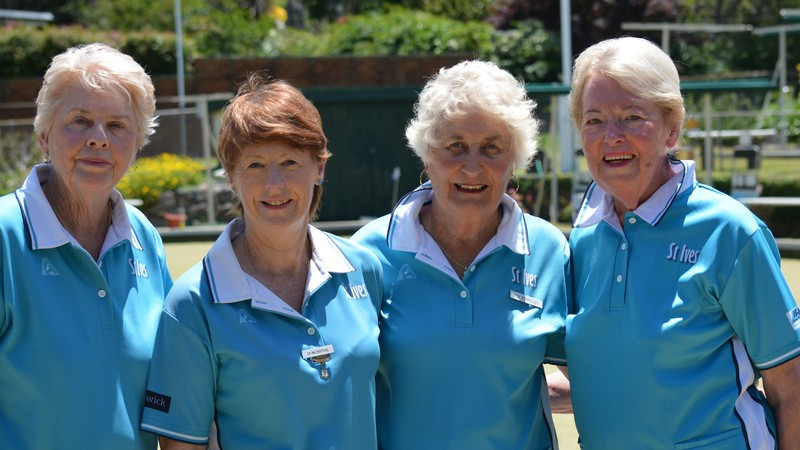 2018 Womens Fours Champions (L to R): Jan Woodcock, Di McBryde, Bev Donnelley & Barbara deBarkaz